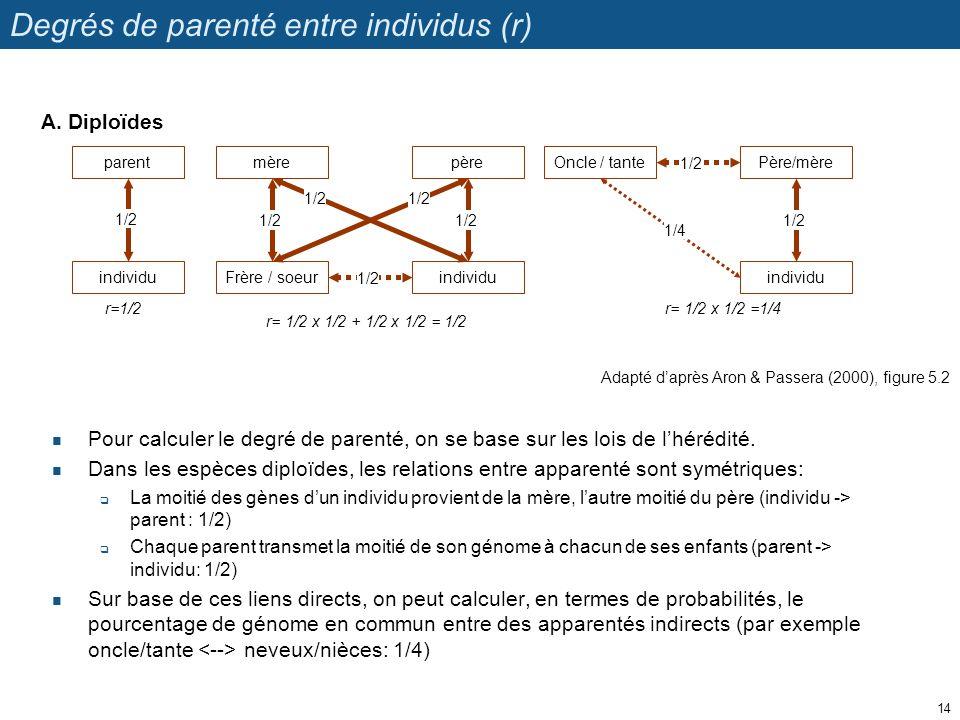 Degrés de parenté entre individus (r)
