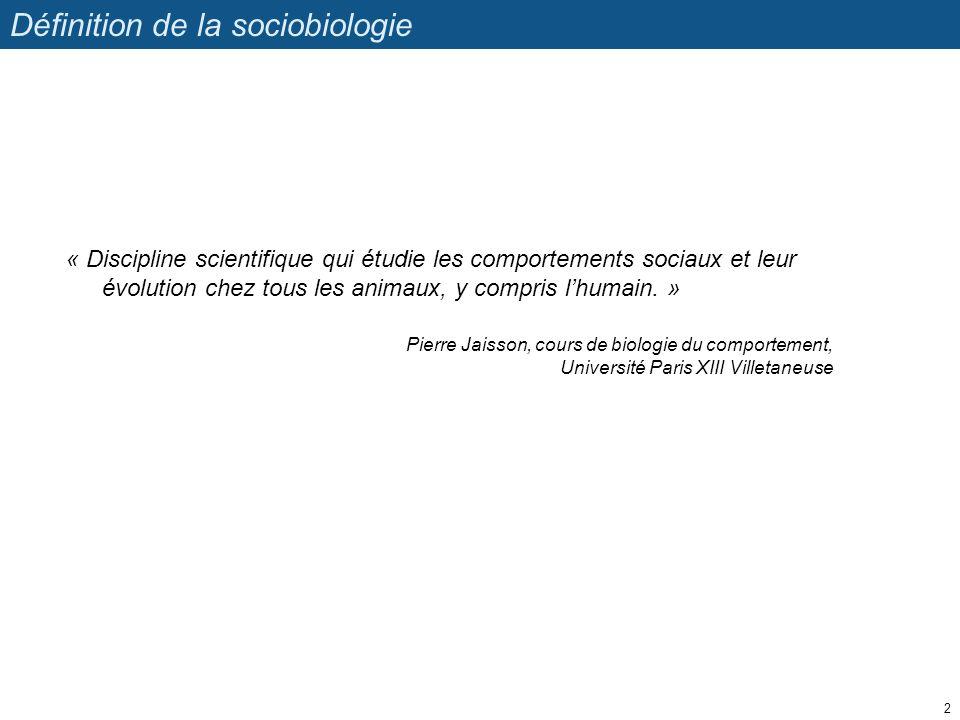 Définition de la sociobiologie