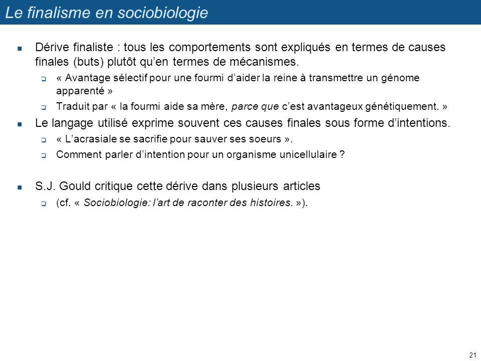 Le finalisme en sociobiologie