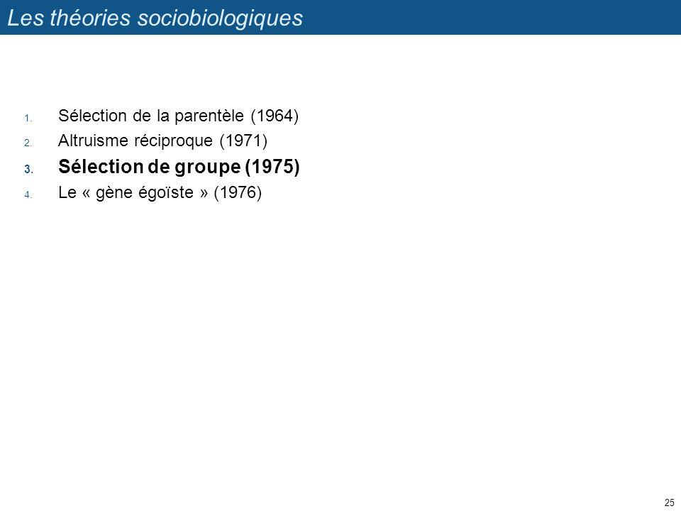 Les théories sociobiologiques