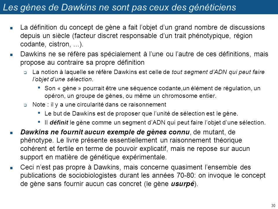 Les gènes de Dawkins ne sont pas ceux des généticiens