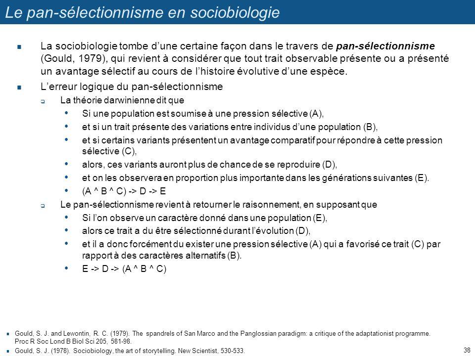 Le pan-sélectionnisme en sociobiologie