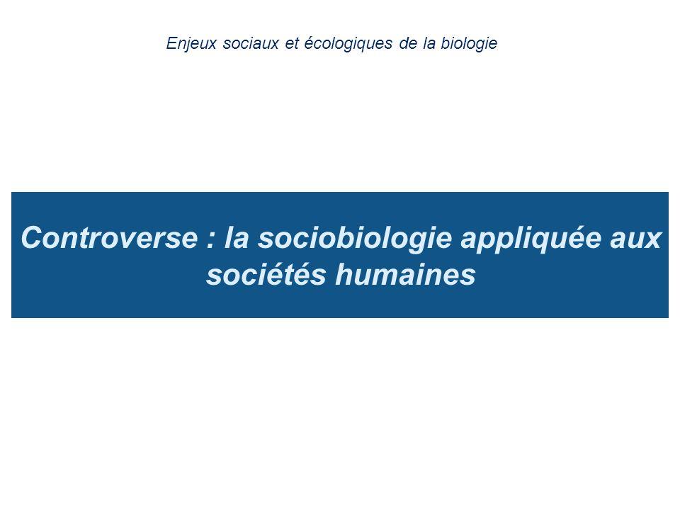 Controverse : la sociobiologie appliquée aux sociétés humaines