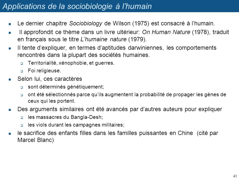 Applications de la sociobiologie à l'humain