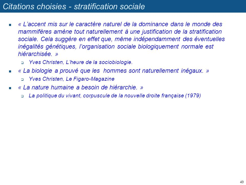 Citations choisies - stratification sociale