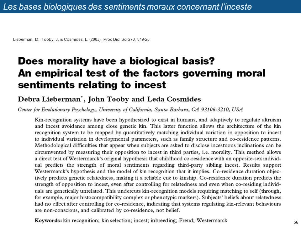 Les bases biologiques des sentiments moraux concernant l'inceste
