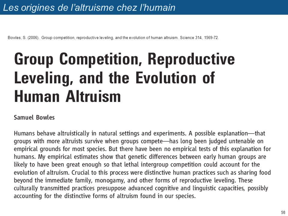 Les origines de l'altruisme chez l'humain