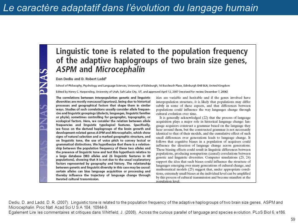 Le caractère adaptatif dans l'évolution du langage humain