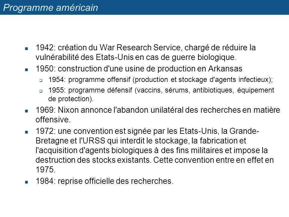 Programme américain 1942: création du War Research Service, chargé de réduire la vulnérabilité des Etats-Unis en cas de guerre biologique.