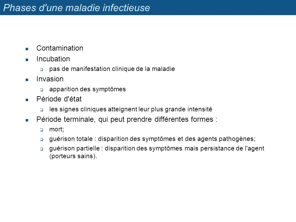 Phases d une maladie infectieuse
