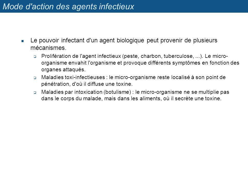 Mode d action des agents infectieux