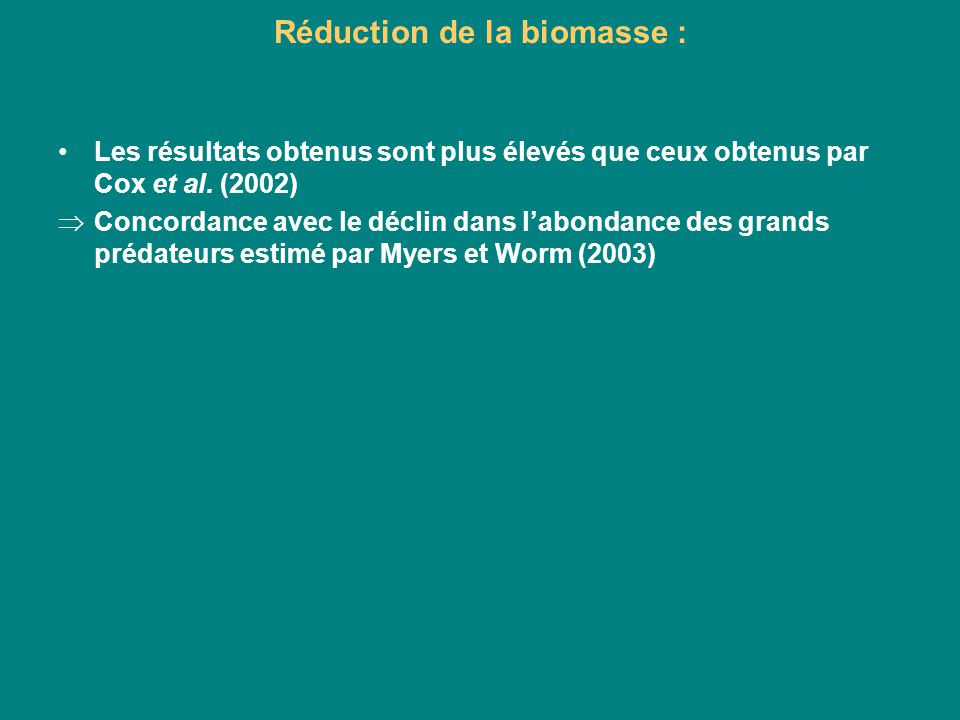 Réduction de la biomasse :