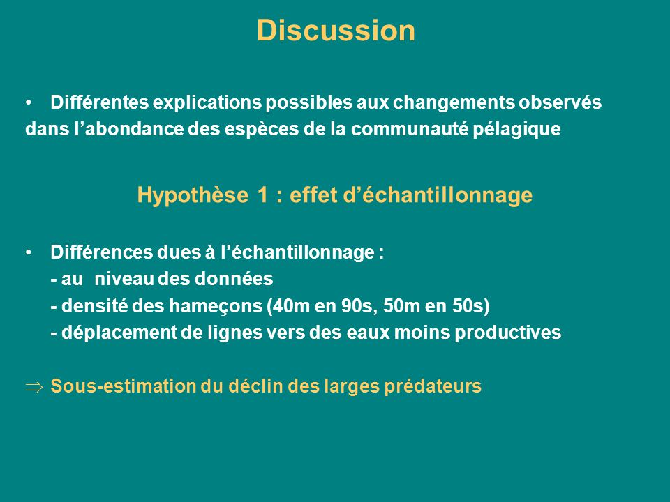 Hypothèse 1 : effet d'échantillonnage