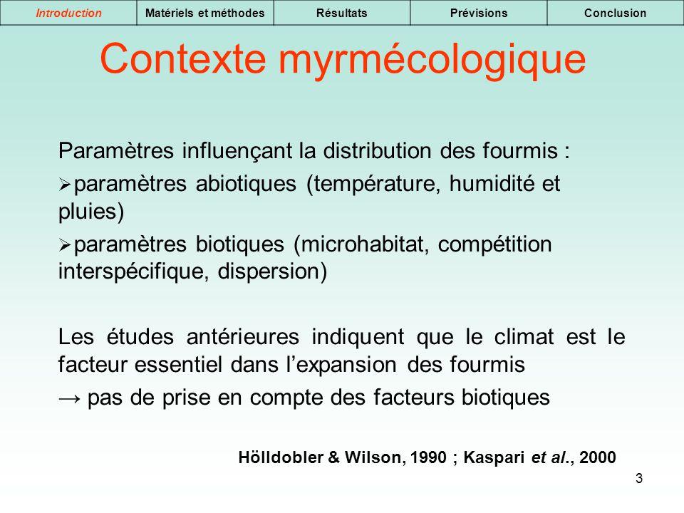 Contexte myrmécologique