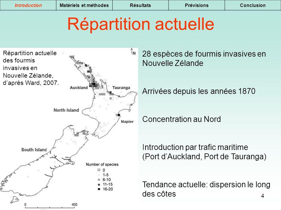 Introduction Matériels et méthodes. Résultats. Prévisions. Conclusion. Répartition actuelle.