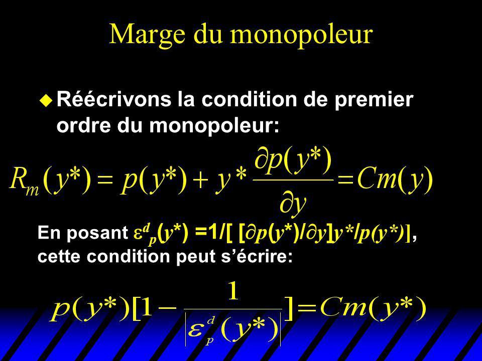 Marge du monopoleur Réécrivons la condition de premier ordre du monopoleur: