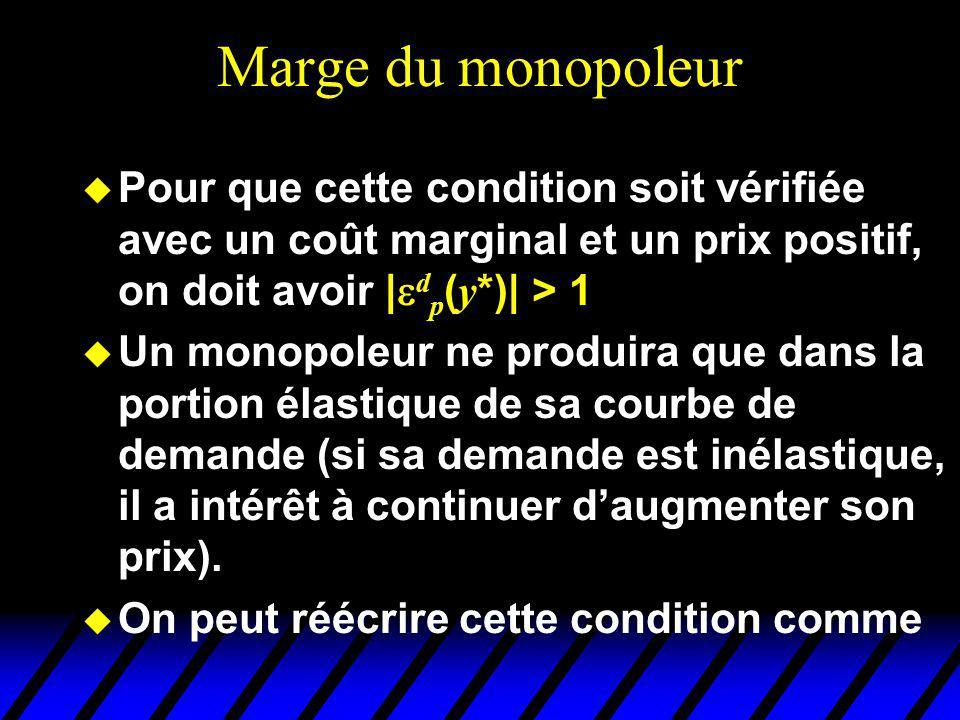 Marge du monopoleur Pour que cette condition soit vérifiée avec un coût marginal et un prix positif, on doit avoir |dp(y*)| > 1.