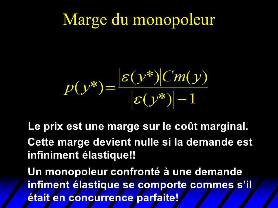 Marge du monopoleur Le prix est une marge sur le coût marginal.