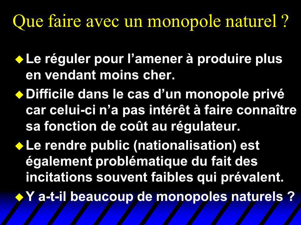 Que faire avec un monopole naturel