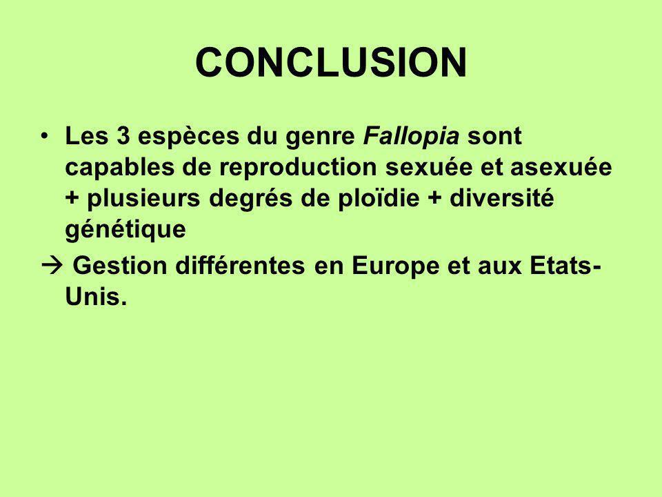 CONCLUSION Les 3 espèces du genre Fallopia sont capables de reproduction sexuée et asexuée + plusieurs degrés de ploïdie + diversité génétique.