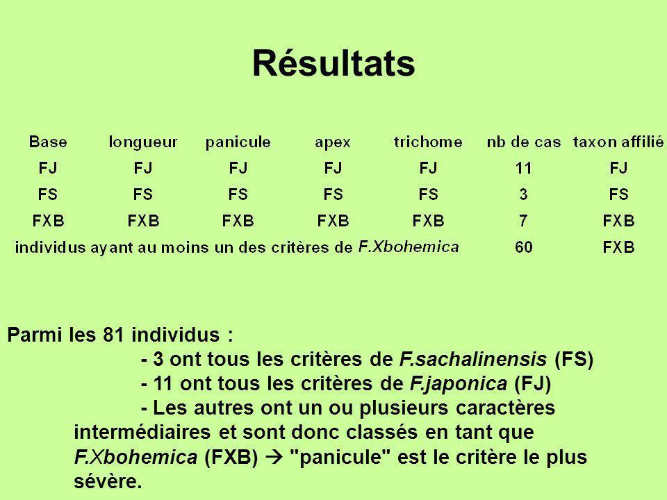 Résultats Parmi les 81 individus :