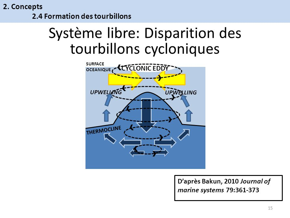Système libre: Disparition des tourbillons cycloniques