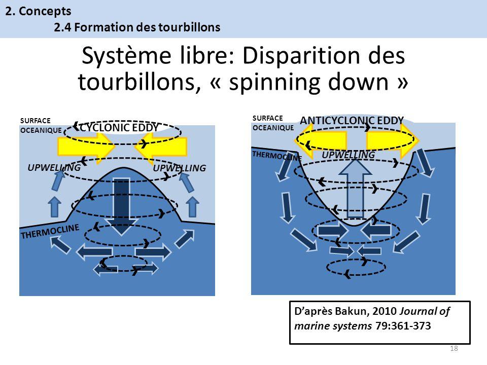 Système libre: Disparition des tourbillons, « spinning down »