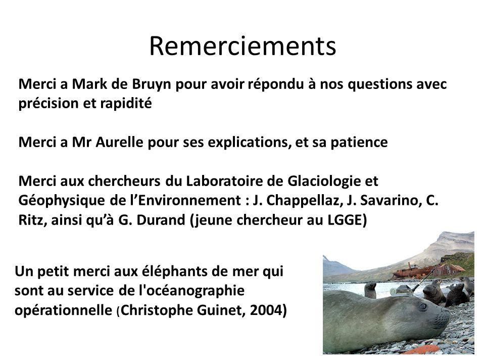 Remerciements Merci a Mark de Bruyn pour avoir répondu à nos questions avec précision et rapidité.