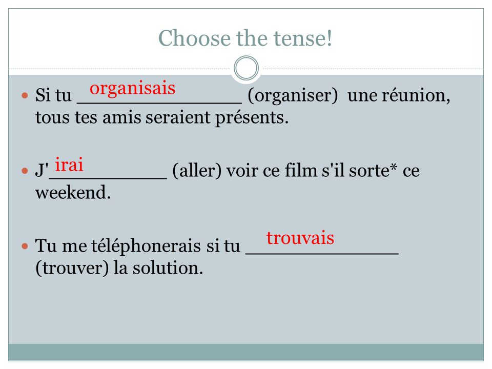 Choose the tense! organisais irai trouvais