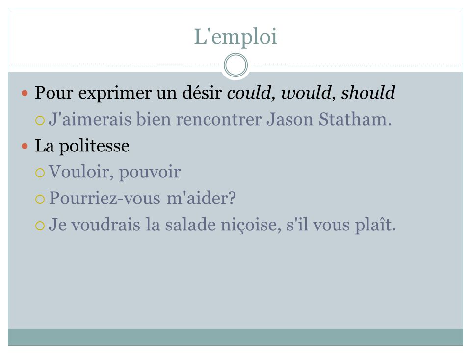 L emploi Pour exprimer un désir could, would, should