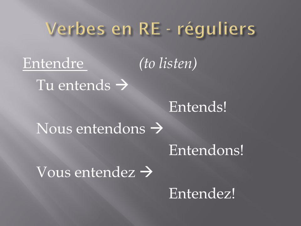 Verbes en RE - réguliers