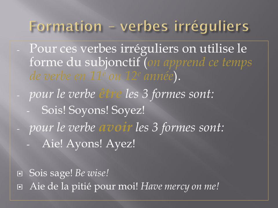 Formation – verbes irréguliers