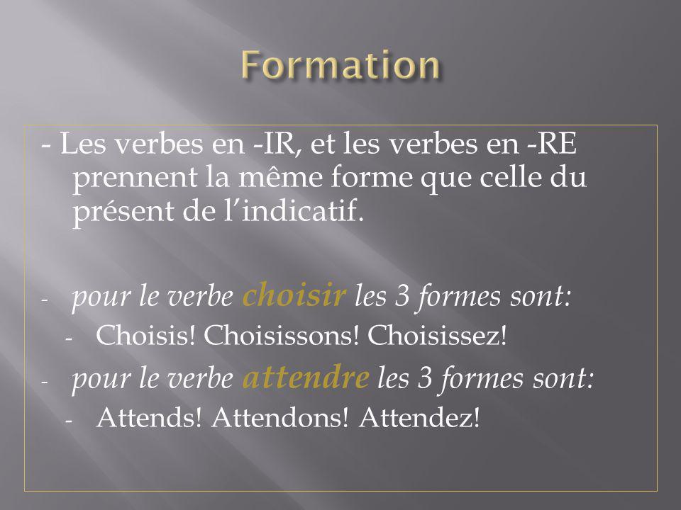 Formation - Les verbes en -IR, et les verbes en -RE prennent la même forme que celle du présent de l'indicatif.