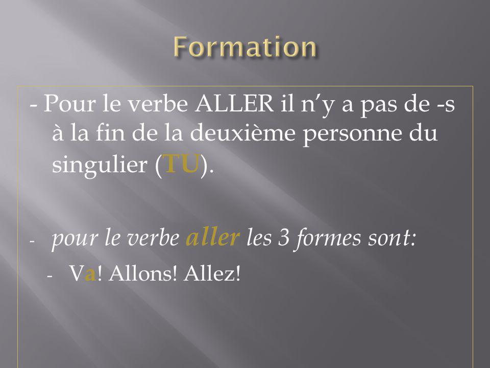 Formation - Pour le verbe ALLER il n'y a pas de -s à la fin de la deuxième personne du singulier (TU).