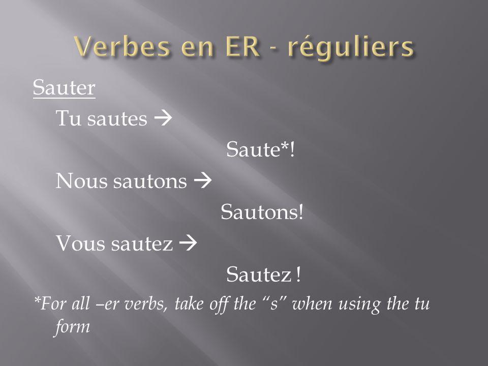 Verbes en ER - réguliers