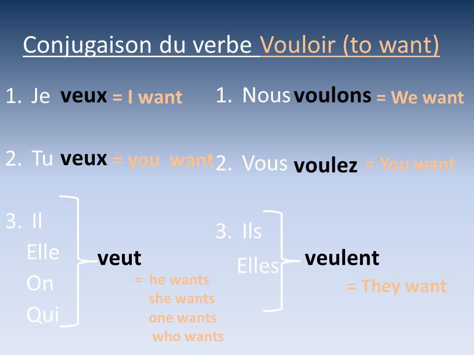 Conjugaison du verbe Vouloir (to want)