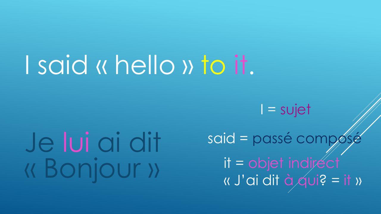 Je lui ai dit « Bonjour » I said « hello » to it. I = sujet