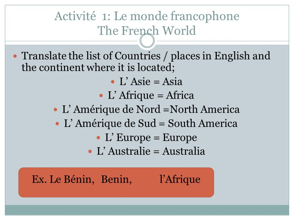 Activité 1: Le monde francophone The French World