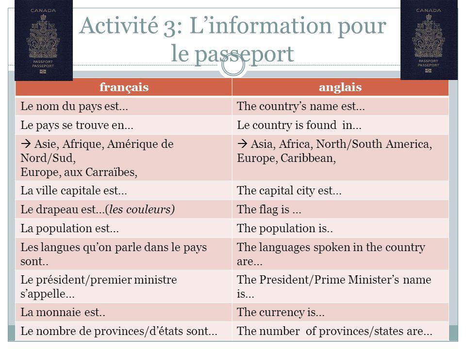 Activité 3: L'information pour le passeport