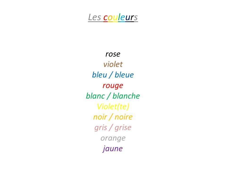 Les couleurs violet rose bleu / bleue rouge blanc / blanche Violet(te)