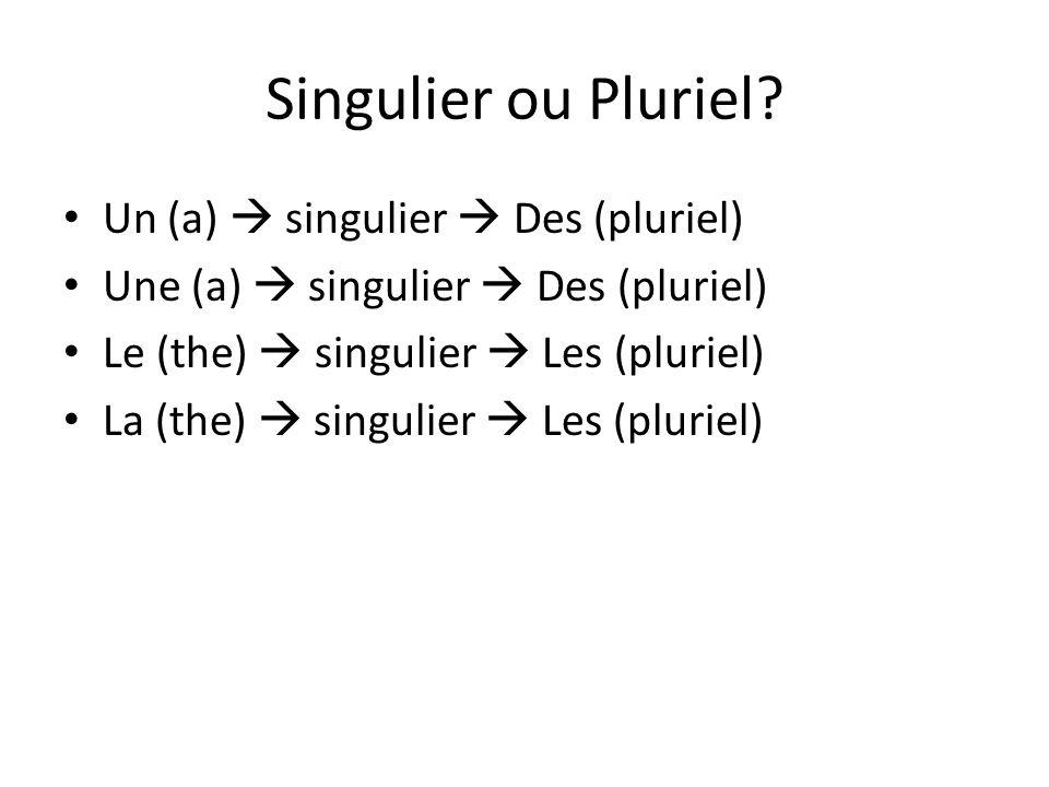 Singulier ou Pluriel Un (a)  singulier  Des (pluriel)