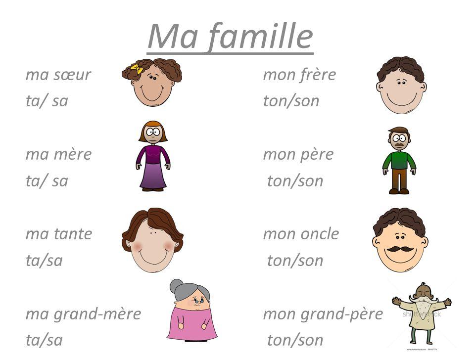 Ma famille ma sœur mon frère ta/ sa ton/son ma mère mon père