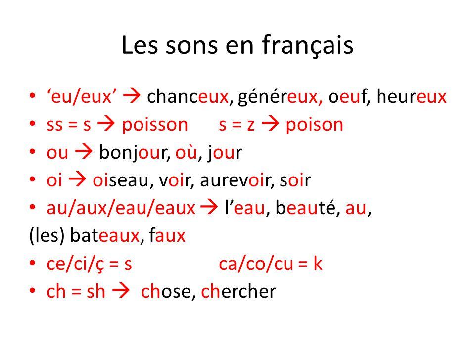 Les sons en français 'eu/eux'  chanceux, généreux, oeuf, heureux