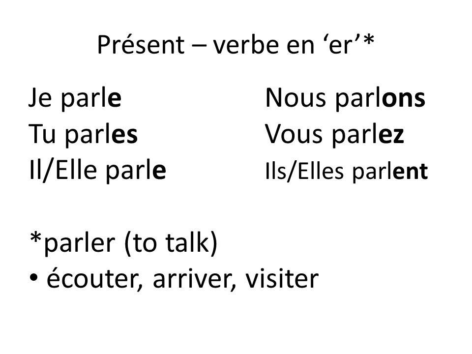 Présent – verbe en 'er'*