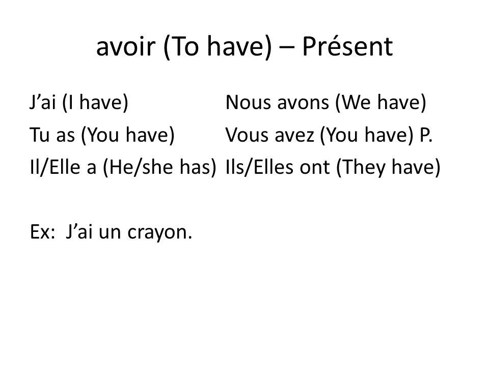 avoir (To have) – Présent