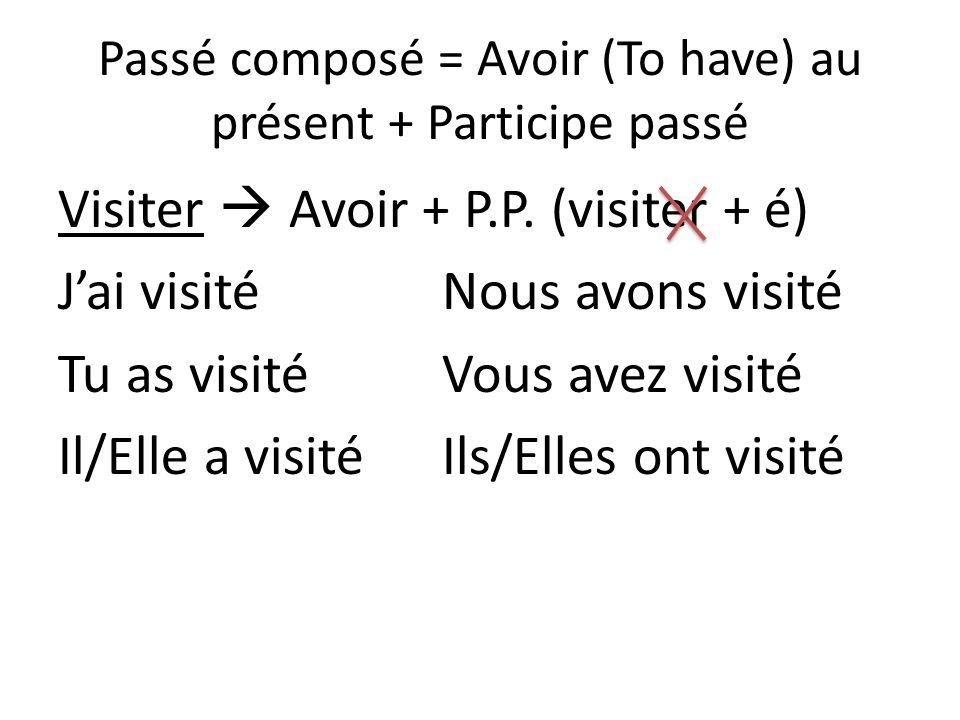 Passé composé = Avoir (To have) au présent + Participe passé