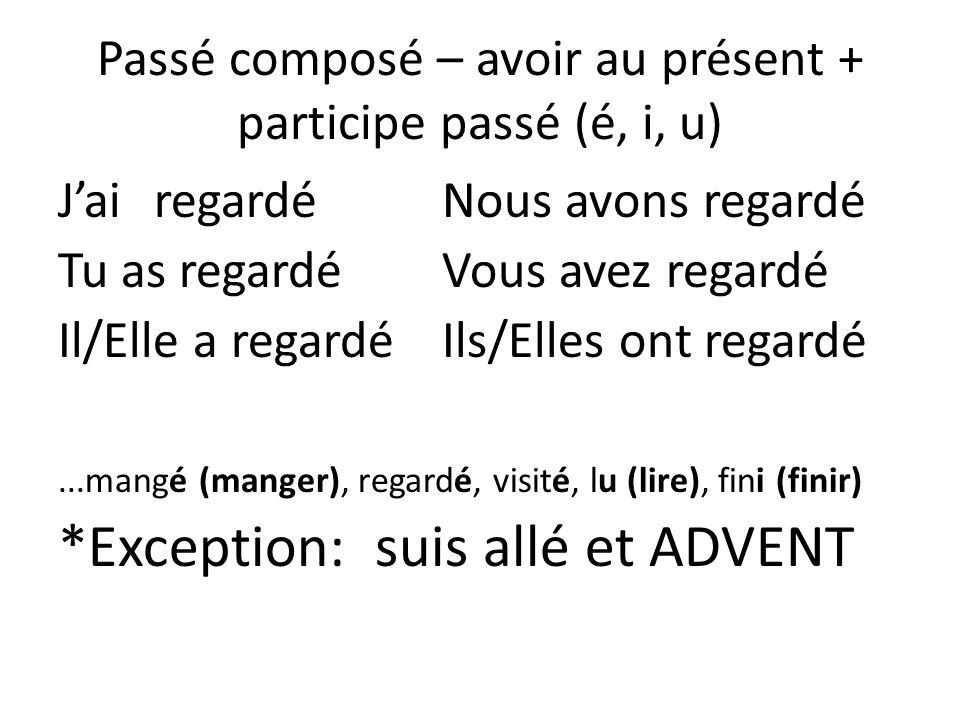 Passé composé – avoir au présent + participe passé (é, i, u)