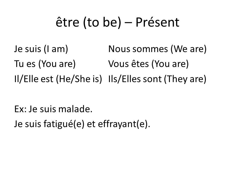 être (to be) – Présent