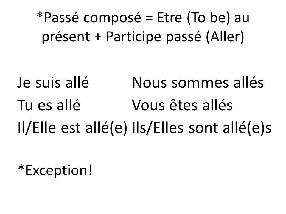 *Passé composé = Etre (To be) au présent + Participe passé (Aller)
