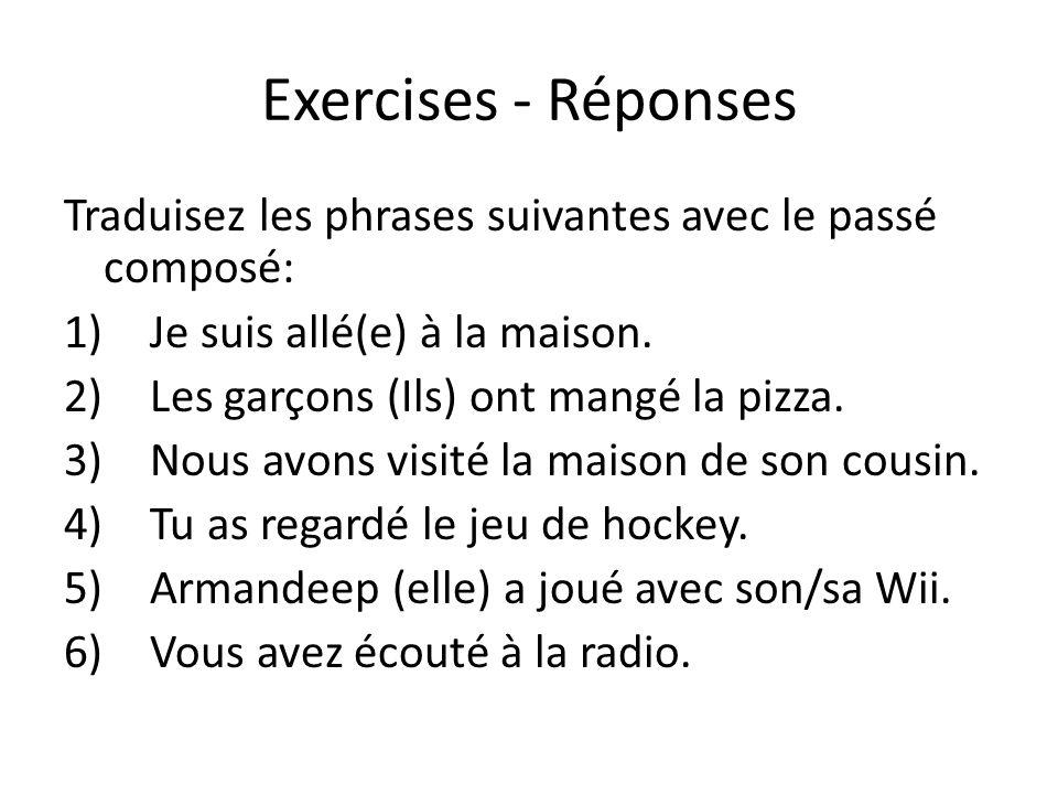 Exercises - Réponses Traduisez les phrases suivantes avec le passé composé: Je suis allé(e) à la maison.